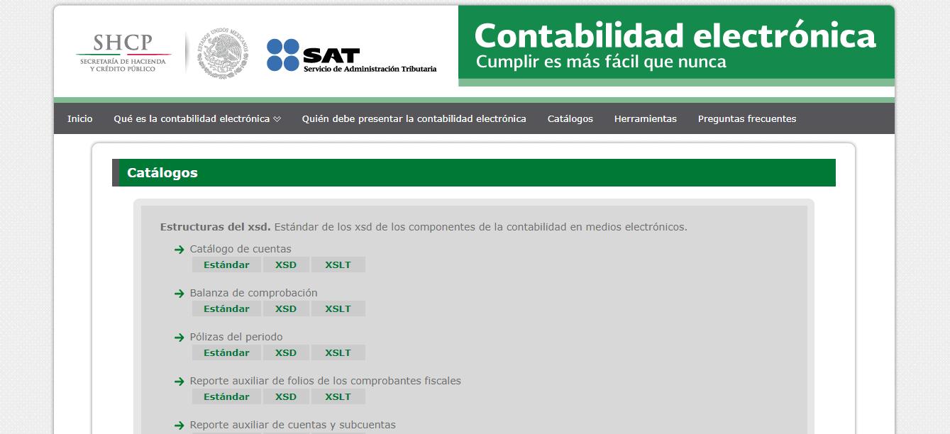 Catálogo de Contabilidad Electrónica