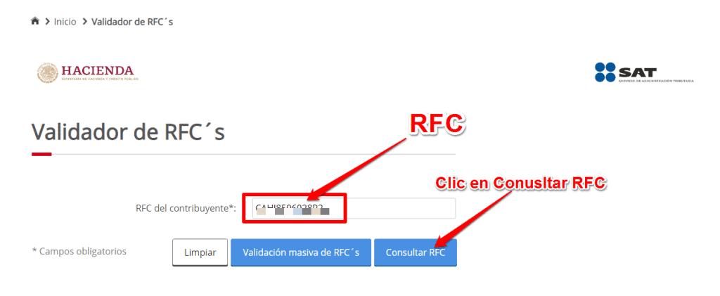 Validar RFC en internet