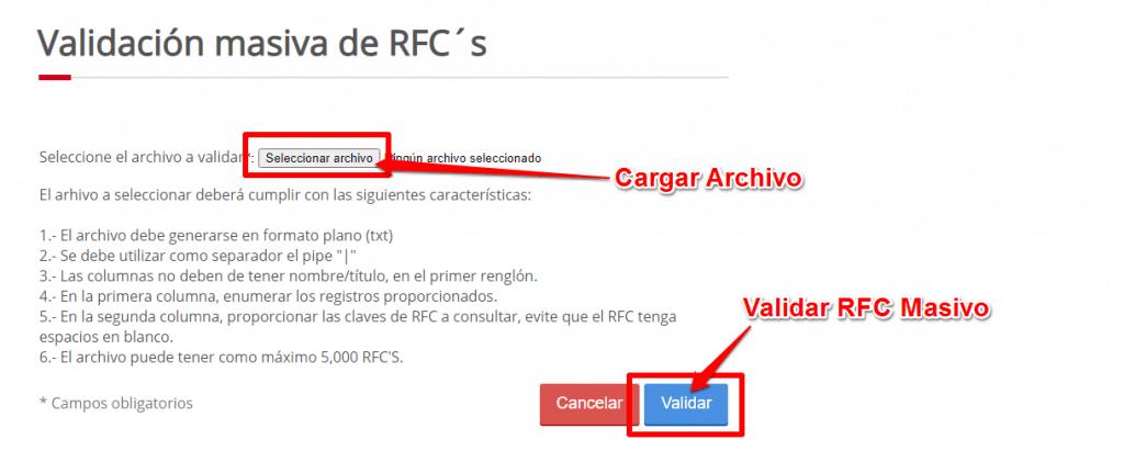 Descargar archivo de validación de RFC